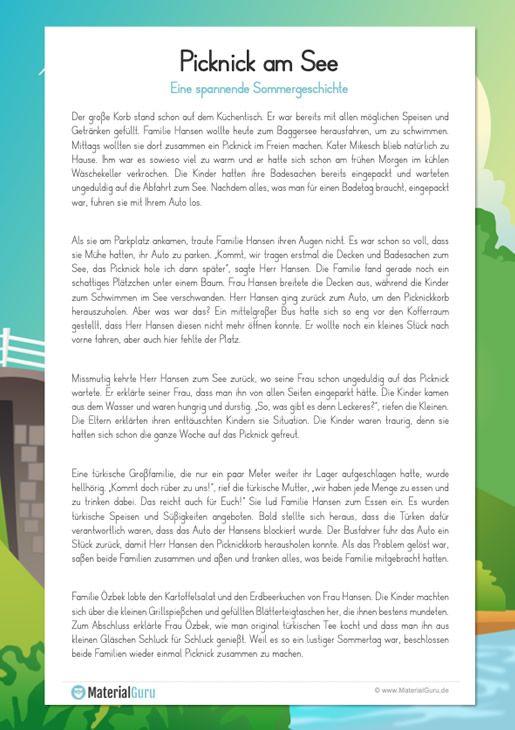 Arbeitsblatt Eine Spannende Sommergeschichte Buch Selber Schreiben Geschichte Schulideen