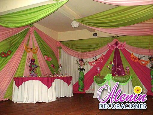 Hermosa decoracion con cortinas 15 a os pinterest - Telas con motivos infantiles ...