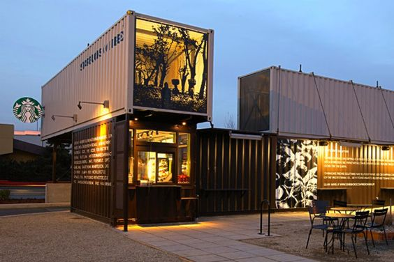 Starbucks Made From Shipping Containers: reimagined Starbucks building. Idea came from their extensive use of these containers to ship their coffee and tea from all over the world.