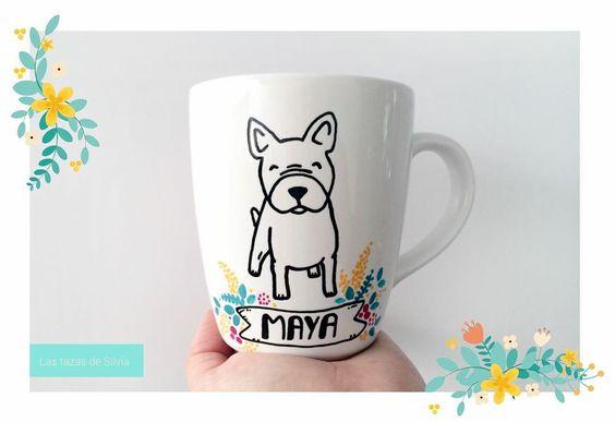 """Taza personalizada ""Las tazas de Silvia""- #bulldog #dog #doglover #perro #amorperruno #frenchbulldog  #frenchie #mugs #mug #taza #lastazasdesilvia #coffee #café #coffeelover…"""