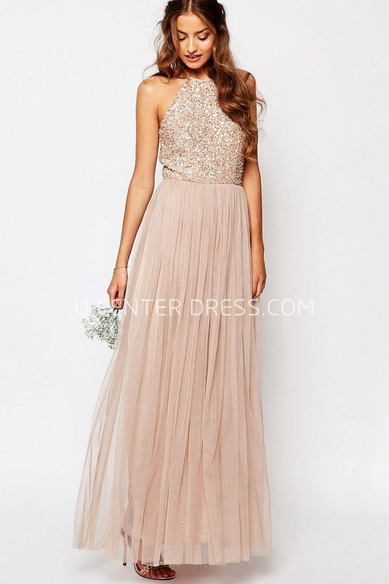 US$118.69-Elegant Long High Neck Sequined Sleeveless Tulle Wedding Guest Dress. http://www.ucenterdress.com/ankle-length-a-line-high-neck-beaded-sleeveless-tulle-bridesmaid-dress-pMK_100610.html.  Shop for summer wedding guest dresses, fall wedding guest dress, wedding guest dress ideas, winter wedding guest dress, plus size wedding guest dress, formal wedding guest dress, beach wedding guest dress, black tie wedding guest dress, wedding guest dress with sleeves. wedding guest dress outdoor…