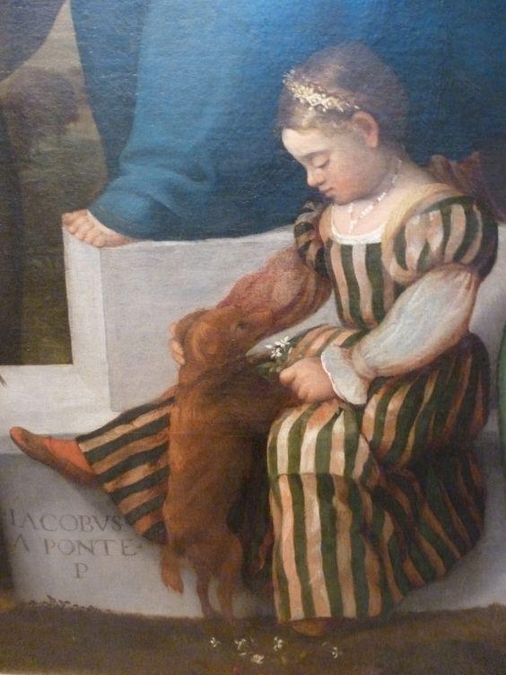 Jacopo Bassano Vierge à l'enfant et saints avec le podestat Matteo Soranzo et sa fille Lucia (1536), détail (Lucia), musée de Bassano del Grappa.: