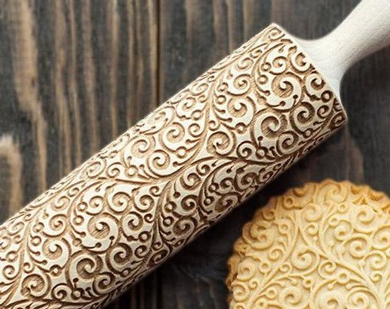 Embossing rolling pin Paisley Pattern Cookies decorating roller Laser engraved rolling pin