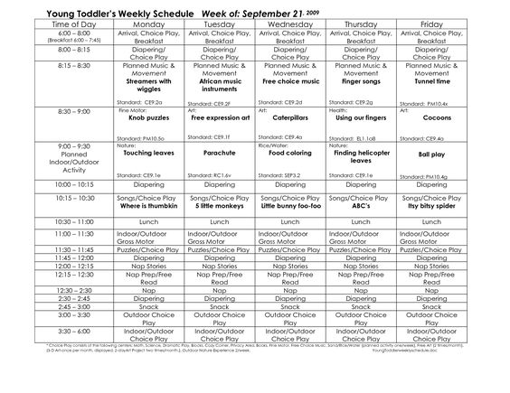 Toddler Lesson Plan Template  Young ToddlerS Weekly Schedule