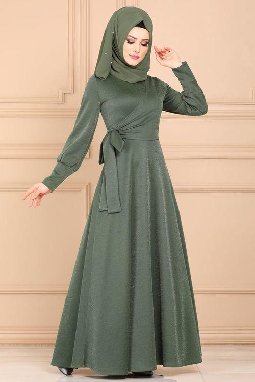 Modaselvim Elbise Yandan Baglamali Simli Elbise 5594mp186 Haki Elbise Islami Giyim Abaya Tarzi