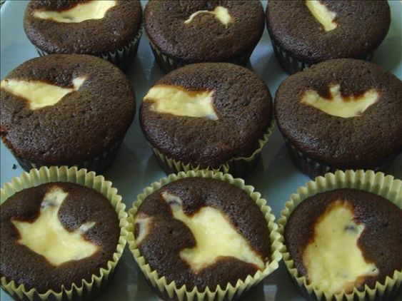 Chocolate Cream Cheese Cupcakes ~ I have used this recipe for over 35 years - long before the cupcake craze took over.  Don't need frosting at all.