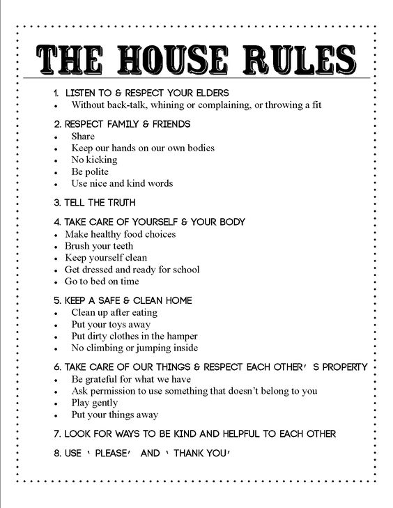 Family house rules printable bing images for House rules chart template