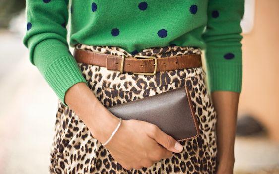 change is in the air   polka dot sweater   leopard skirt   vintage belt   #ootd