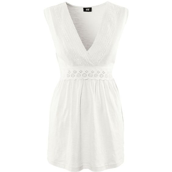 H&M Top (£6.49) ❤ liked on Polyvore featuring tops, women, long cotton tops, long tops, white cotton tops, h&m tops and smock top
