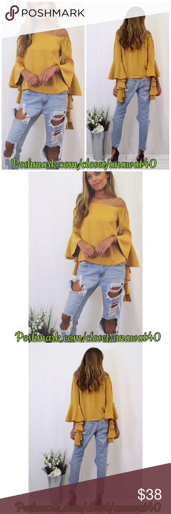 Claire Off Shoulder Top Claire Off Shoulder Top  A solid off shoulder top with an off-shoulder neckline and gorgeous layers on sleeves . Perfect piece to add to your fall collection.  * Cotton * Model is wearing size small * Runs true to size Tea n Cup Tops