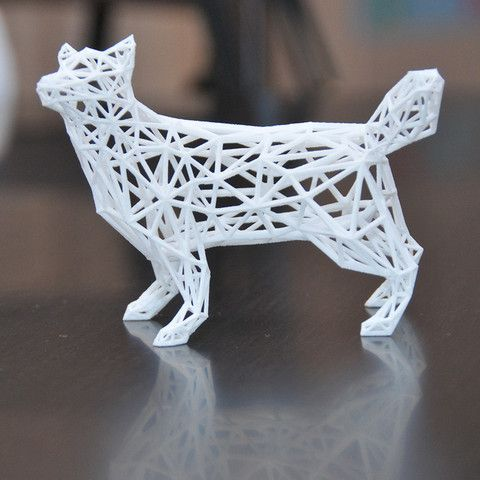 Low poly wireframe husky 3D  #3D #3Dprint #3Dprinting [more pics on Cults website]