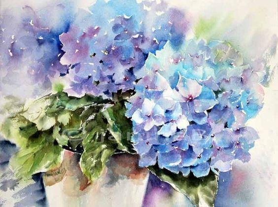Blaue hortensie aquarell auf arches 30x40cm aquarell - Aquarell vorlagen ...