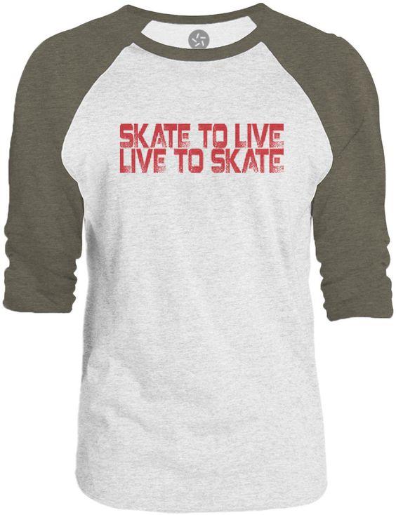 Big Texas Skate to Live (Red) 3/4-Sleeve Raglan Baseball T-Shirt