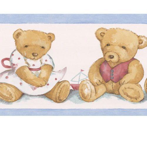 Baby Boy Nursery Teddy Bears Wallpaper Wall Border Brewsterhomefashions Teddy Bear Wallpaper Baby Boy Nurseries Bear Wallpaper