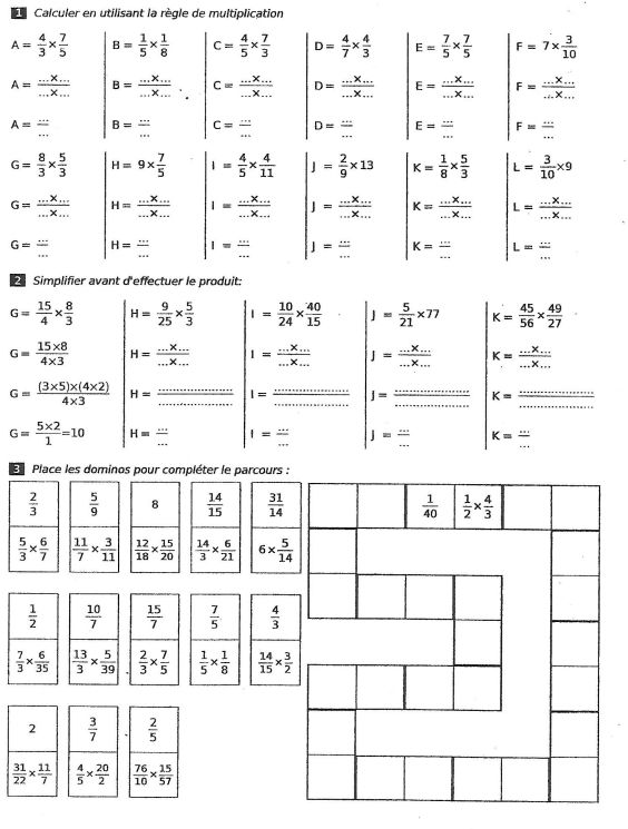Exercices sur les multiplications jeu des dominos for Les multiplications
