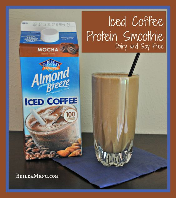 Iced Coffee Protein Smoothie!  Only 100 calories and loaded with protein!  Find this recipe at http://www.buildamenu.com/blog/iced-coffee-protein-smoothie/