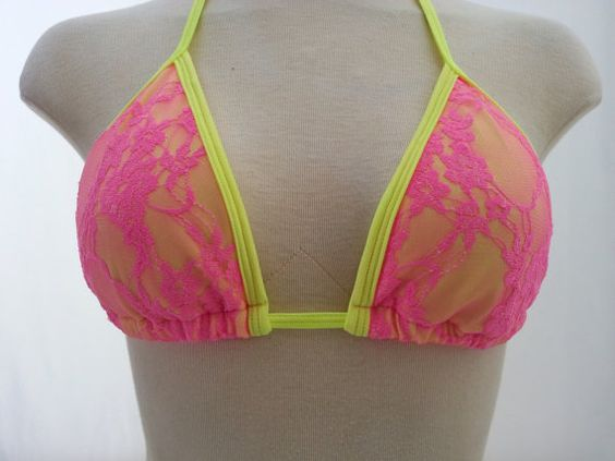 Pink and Yellow bikini by EyeCandiSwimwear on Etsy, $27.00