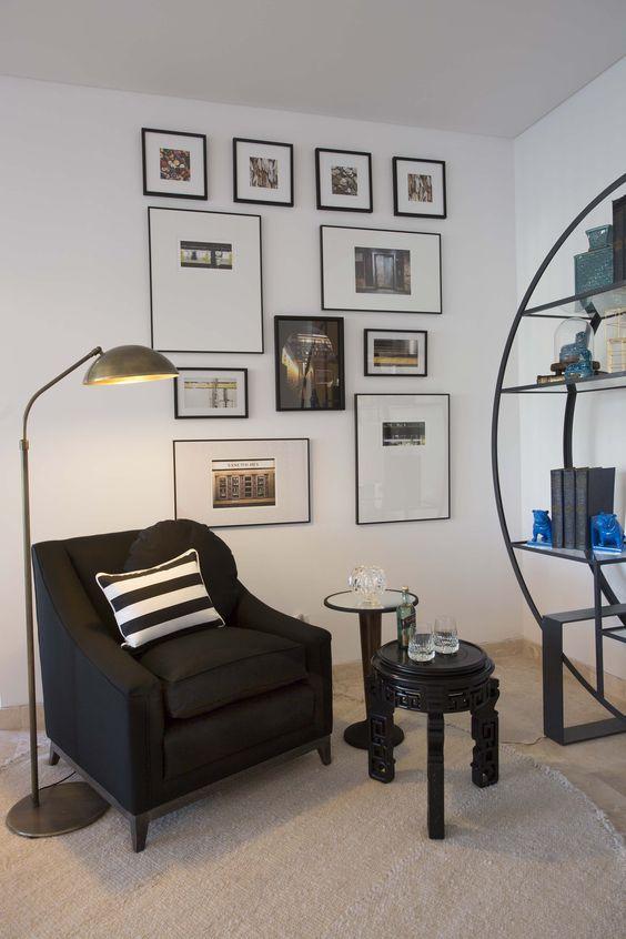 Sector de lectura sillon retro realizado en lino negro for Sillon relax lectura