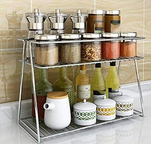 Stainless Steel Spice 2 Tier Trolley Container Organizer Organiser In 2020 Kitchen Storage Shelves Modern Kitchen Storage Kitchen Storage