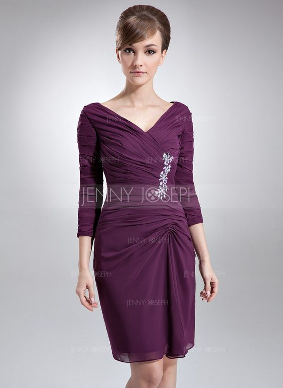 Sheath/Column V-neck Knee-Length Chiffon Mother of the Bride Dress With Ruffle Beading  $136.99 Mother of the Bride Dresses