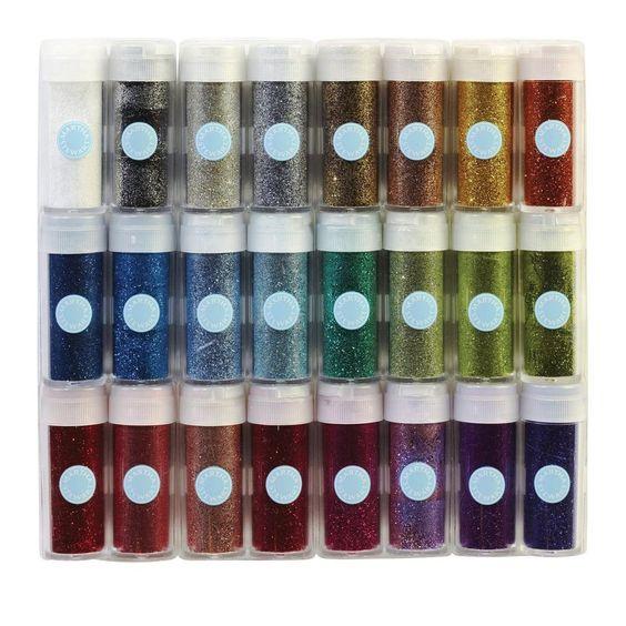 Martha Stewart Craft Glitter Set 24 Colors Scrapbook Pages Cards Decorations New #MarthaStewartCrafts