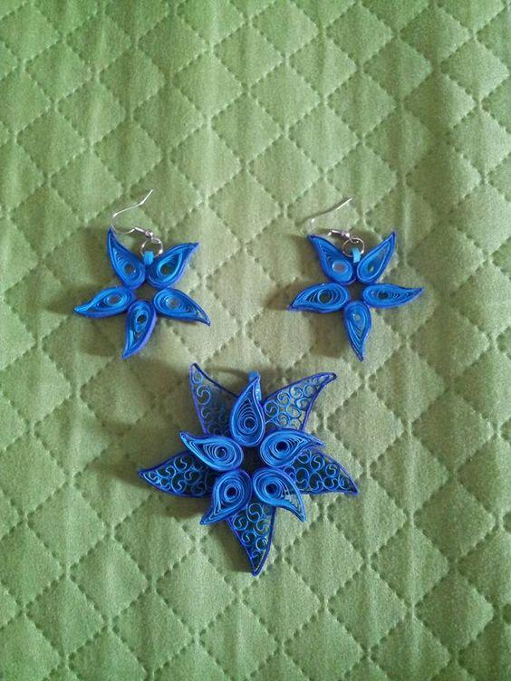 gioielli stella marina quilling blu