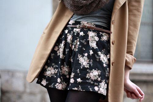 floral shorts #falltransitions