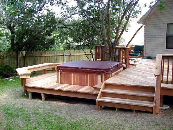 Hot tub deck be cool and two level deck on pinterest for Deck planner tool