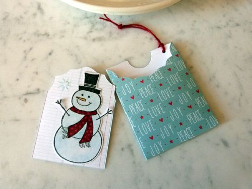Audrey Pettit Sizzix SnowmanTags3- using Where Women Cook Mini Envelope & Tag die and Sizzix/Hero Arts Snowman Framelits stamp & die set