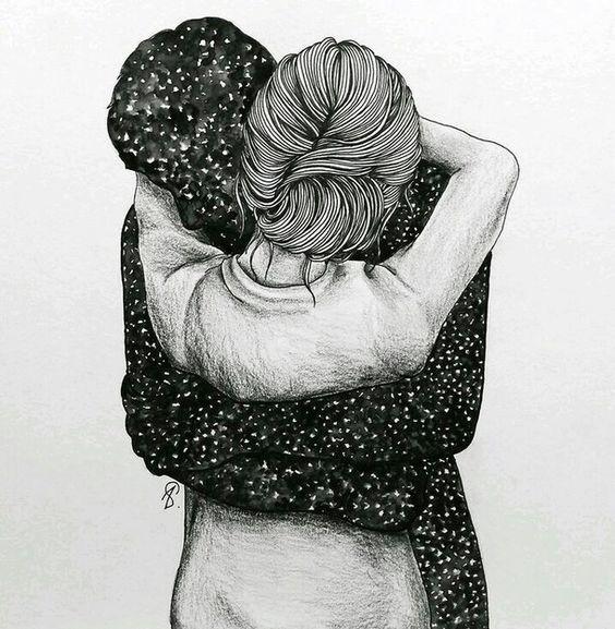 art, creative, cute couple, drawing, hug