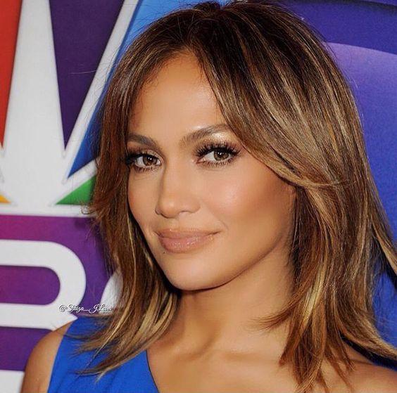 J lo - short hair brownish golden highlights