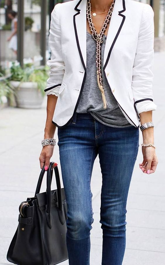 summer to fall street chic style. T-shirt, chunky necklace and blazer = perfect ad exec outfit