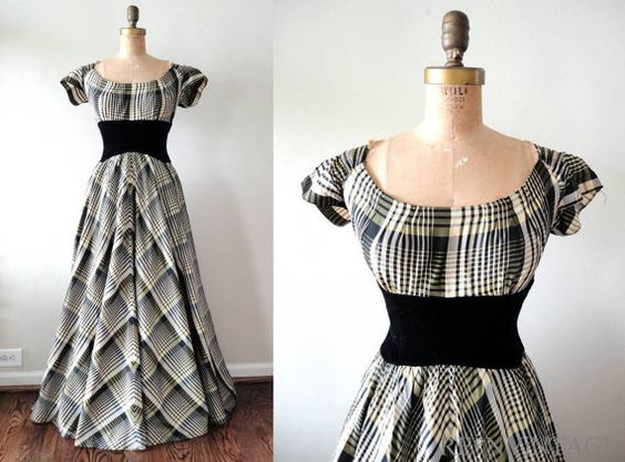 vintage 1930s 40s formal dress : O'HARA full skirt