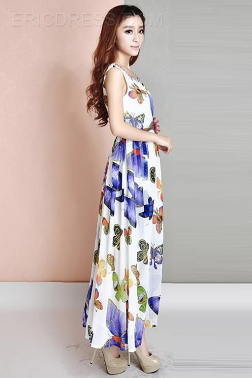 Ericdress Butterfly Printed Maxi Dress  2