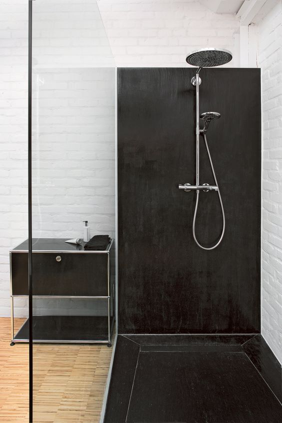 usm haller shelving in graphite black einrichtungsideen pinterest showers. Black Bedroom Furniture Sets. Home Design Ideas