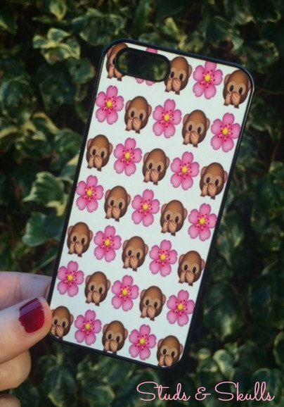 Iphone 6 Phone Case Emoji Monkey Floral Print by StudsandSkulls