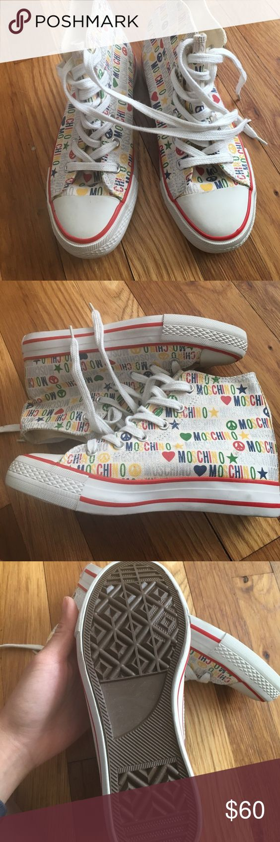 Moschino Rainbow High Tops Size 34 (fits a 5/5.5 women's) brand new, no box Moschino Shoes Sneakers