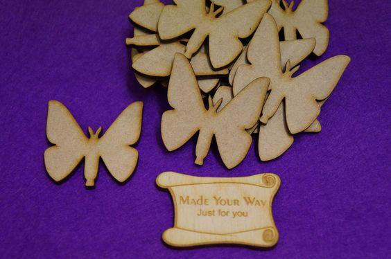 15 x Butterflies 5cm/50mm Craft Embellishment MDF Laser cut wooden shape