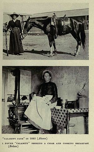 """Photos of Calamity Jane in 1885 from Down the Yellowstone"""", Louis R. Freeman, 1922 Date 1885 Source Extracted from public domain pdf file of above on the Internet archive. Author Unknown"""
