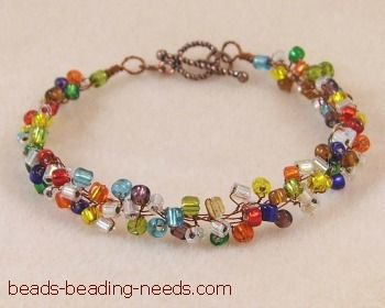 free beaded bracelet pattern with easy beading instructions for this beautiful seed bead bracelet design created with fine jewelry making wire - Bracelet Design Ideas