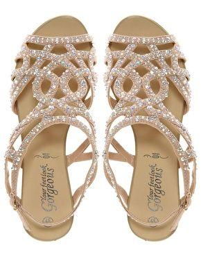 Diamante Trim Flat Sandal