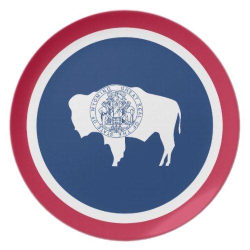 Patriotic Wyoming State Flag Dinner Plate Zazzle Com State Flags Wyoming State Patriotic
