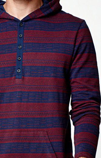 Jacquard Hooded Henley Shirt