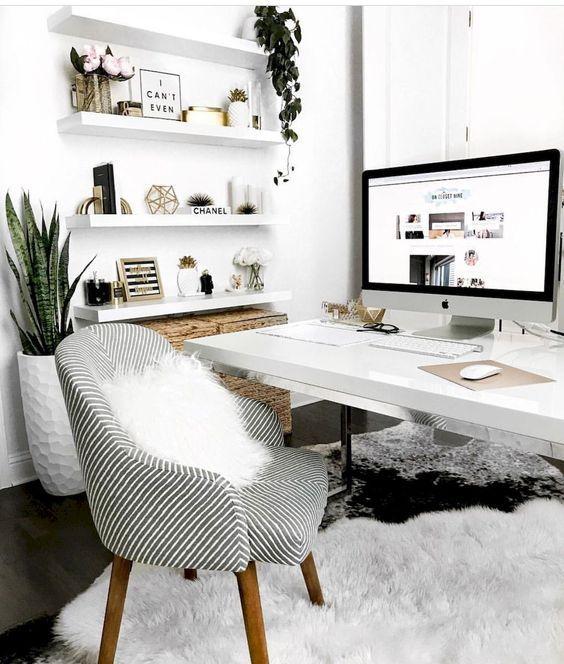 Minimalist Home Office Scandinavian Interior Nordic Design Soft Carpet Cozy Armchair Plants Cozy Home Office Home Office Decor White Desk Design