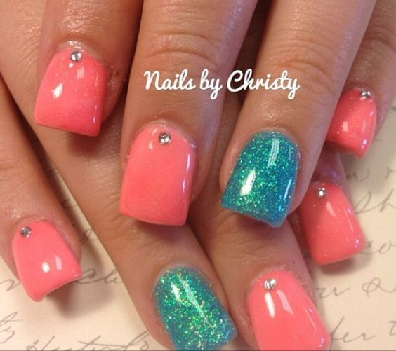 Coral, teal, glitter. Fabulous!: