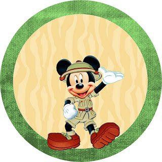 Mickey Safari - Kit Completo com molduras para convites, rótulos para guloseimas, lembrancinhas e imagens!