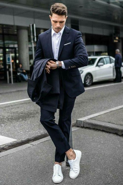 Suit And Sneakers Menswear Mens Style Fashion Navy Suit Business Casual Minimalist Scandinavia In 2020 Lassige Herrenmode Street Styles Fur Herren Herrenmode Anzuge