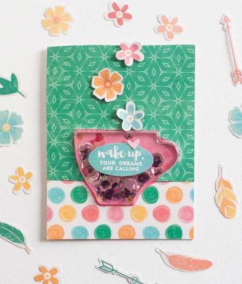 Wake Up, Your Dreams Are Calling Card by Rebecca Keppel featuring Jillibean Soup Shape Shakers and Bowl of Dreams collections.: