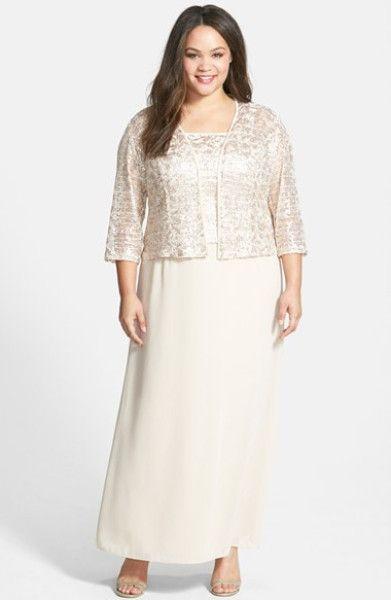 Women&-39-s Gray Sleeveless Jacquard Sparkle Dress and Jacket - Lace ...