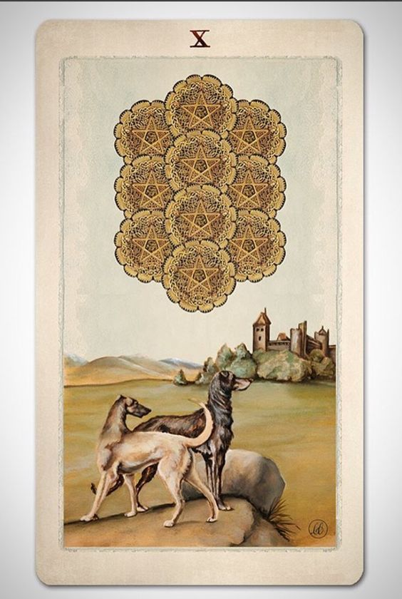 PAGAN OTHERWORLDS tarot deck of cards by UUSI. Ten of Pentacles